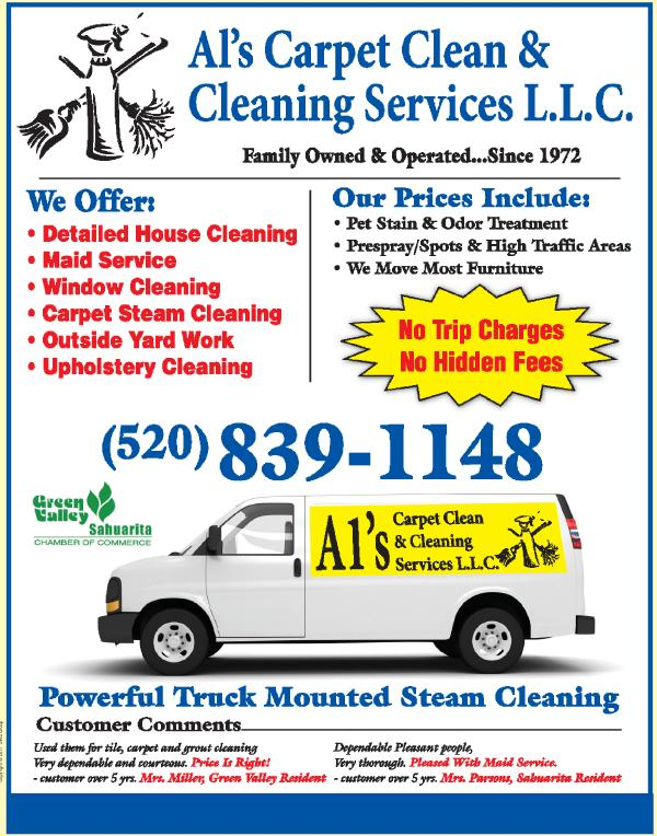 ... carpet steam cleaning, outside yard work, and upholstery cleaning. There are no trip charges, no hidden fees and our price includes pet stain and odor ...